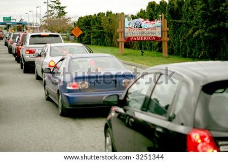 US Canada border crossing line