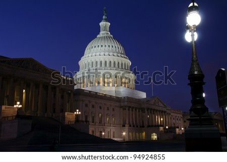US Capitol building at dusk, street lights, Washington DC. - Eastern facade