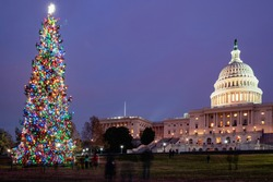 US Capitol Building at night during christmas time in Washington, D.C.