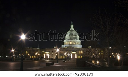 US Capitol building at night, Washington DC.