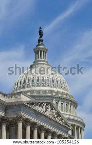 US Capitol Building east facade dome detail - Washington DC