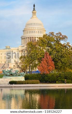 US Capitol Building in Autumn - Washington DC United States