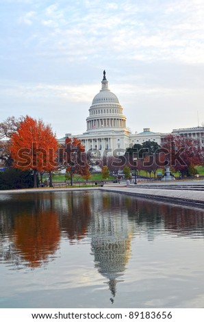 US Capitol building in Autumn, Washington DC USA - stock photo