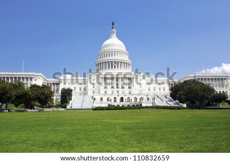 US Capitol Building with blue sky
