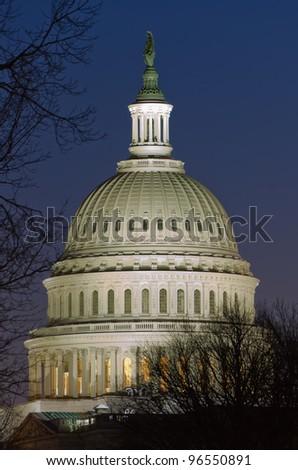 US Capitol dome detail in twilight - Washington DC United States