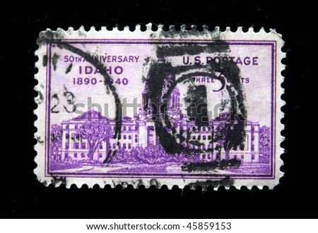 US - CIRCA 1940: A stamp printed in US shows Capitol in Idaho, series, circa 1940