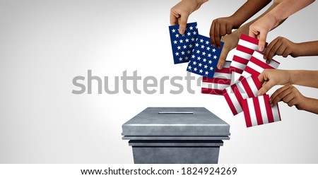 US community vote and American voting diversity concept and diverse hands casting United States ballots at a polling station as a USA democratic right in a democracy with 3D illustration elements. Foto d'archivio ©