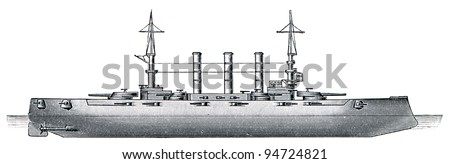 "US Connecticut-class battleship USS Kansas (BB-21), 1905, 16,257 tons, 137 meters. Publication of the book ""Meyers Konversations-Lexikon"", Volume 7, Leipzig, Germany, 1910"
