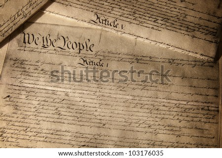 US Constitution document, showing Article 1
