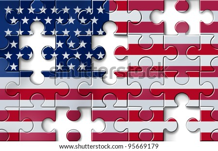 US crisis with the American flag in a jigsaw puzzle as pieces missing in a financial  banking debt and loan guarantees with economic problems due to the mortgage and loans industries.