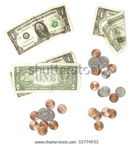 US Currency Isolated on White Background. Various groups of currency and coins for design elements.