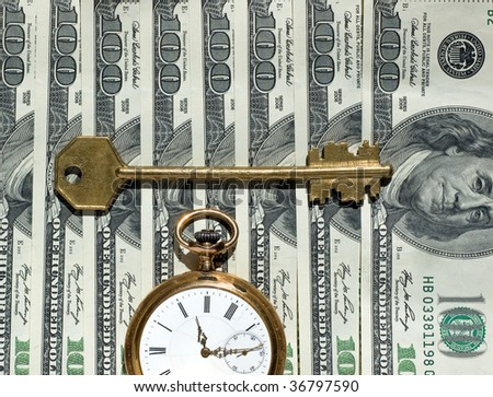 US currency, watch, key - as concept of  Financial Success