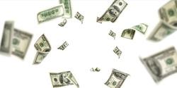 Us dollar. American money, falling cash. Flying hundred dollars isolated.