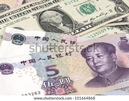 US dollar and Chinese RMB bills