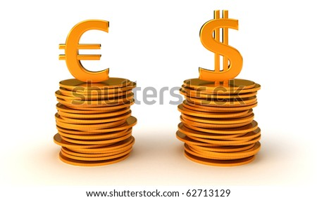 US dollar and Euro Currency equation. Over white