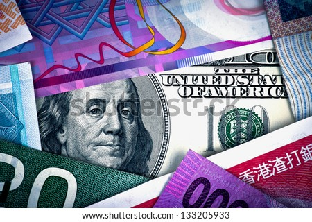 US Dollar and foreign currency representing economic crisis