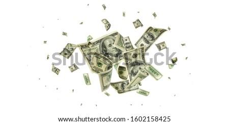 Us dollar bill. Washington american cash. Falling usd money background.