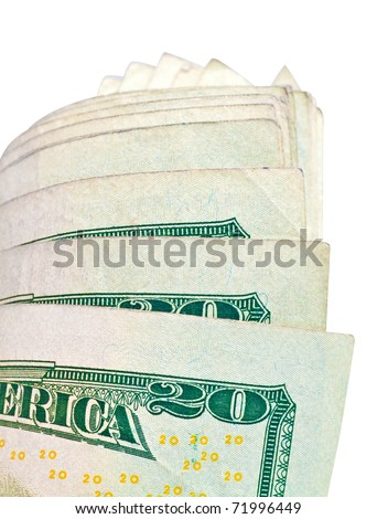US dollar bills isolated on white with clipping path