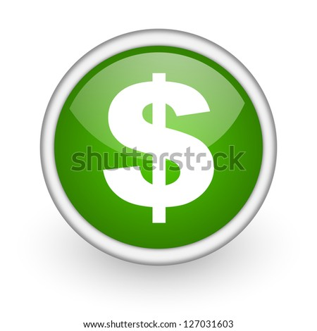 us dollar green circle glossy web icon on white background