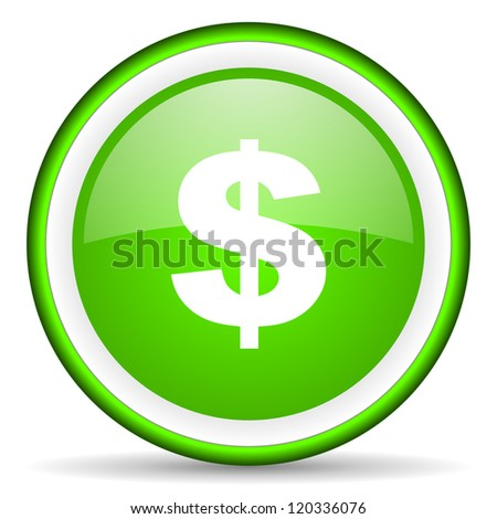 us dollar green glossy icon on white background
