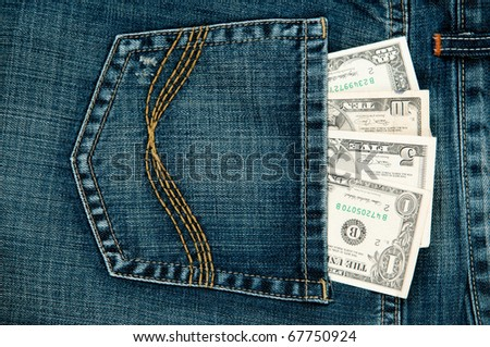 US dollar in the Jeans Pocket.