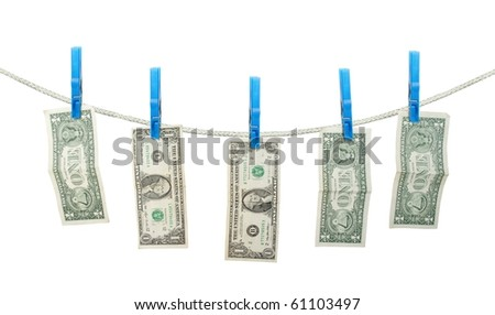 US Dollar's Hanging on Rope with Clothespins isolated background