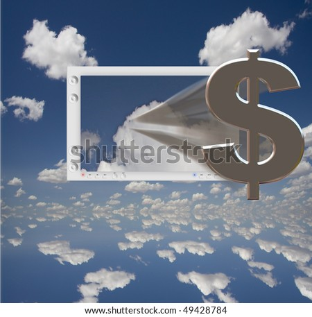US Dollar Symbol and Flat Panel floats in blue sky