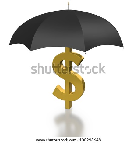 US Dollar symbol covered by a Protecting Umbrella