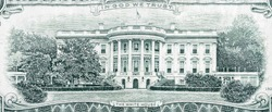 US 20 dollars banknote with white house closeup macro bill fragment