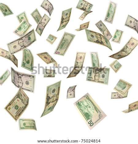 US Dollars falling from above isolated on white