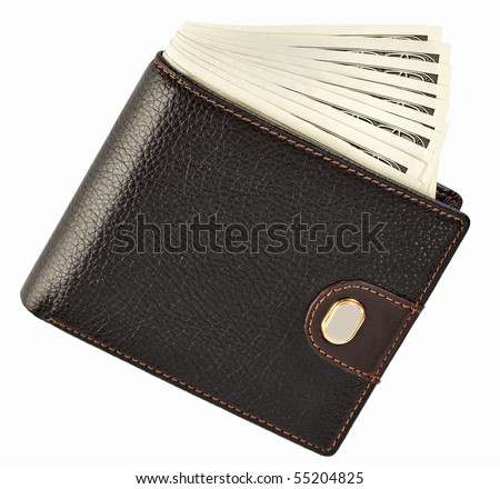 US dollars in a black wallet isolated  on white background