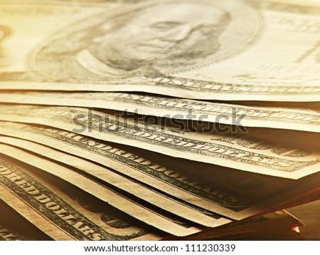 US dollars. Money concept. Dim light