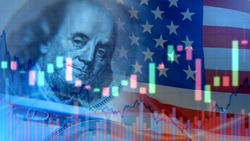 US economy. Franklin portrait next to the flag. Financial market of America. Charts next to a portrait of Franklin. Concept - economists forecast for the United States. US government bonds.
