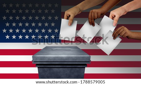 US election and United States vote or American voters voting in the USA for a president or senator and cogress with 3D illustration elements. Foto stock ©