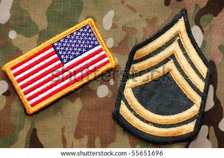 US flag and sergeant rank patch on multicam background