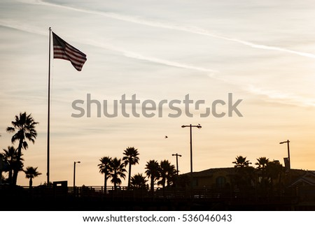 US flag at the west coast #536046043