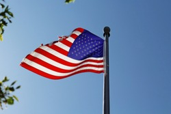 US flag backlit by the sunlight partially framed by tree leaves