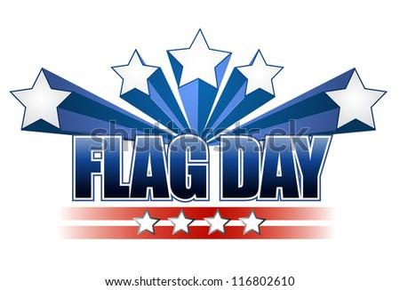 US flag day stars illustration design over white