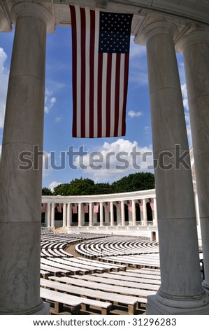 US flag hanging at the Memorial Amphitheater at the Arlington National Cemetery in Virginia on Memorial Day