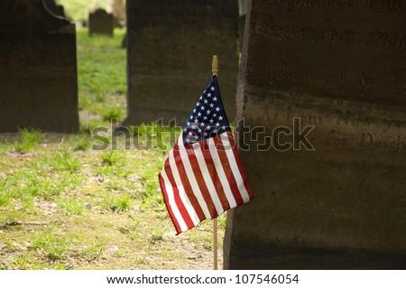 US flag in Graveyard - stock photo