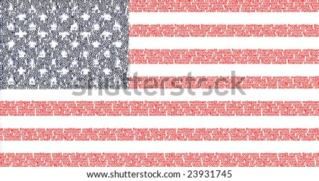 US flag made of words representing the financial crisis