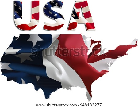 US Flag-Map Inner Shadow - Illustration