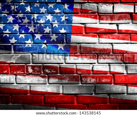 US Flag on brick wall background