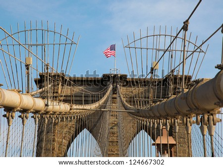 US flag on Brooklyn Bridge, New York City