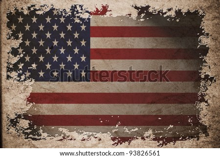 US flag on old vintage paper, can be use for background design and vintage related concept. Also American Independence Day.