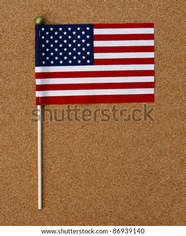 US Flag on Pole on cork board
