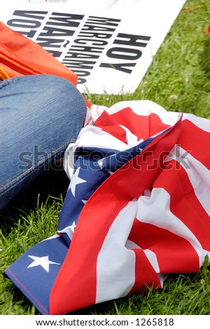 US Flag on the ground at Los Angeles illegal emigrant rally. May 1st 2006