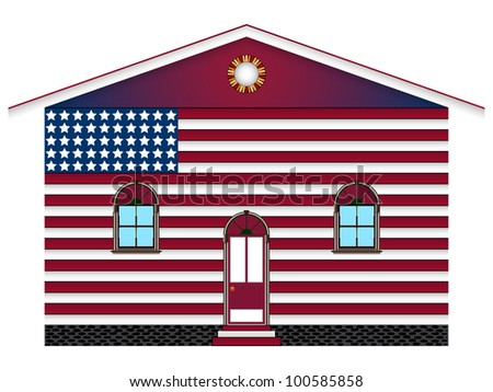 us flag painted house over white background, abstract art illustration