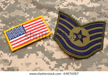 US flag patch and Air Force rank patch on ACU background