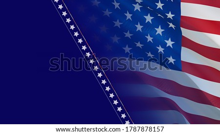 US flag waving in wind. Waving Flag United States Of America, 3d rendering. USA flag for Independence Day, 4th of july US American Flag Waving Full HD image. USA America Super Bowl Sunday flags news